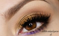 eye makeup - gold and purple
