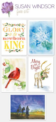 Watercolor Christmas cards!