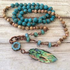 Long beaded necklace - turquoise necklace - abalone feather - knotted boho necklace -  beach boho handmade by rubybluejewels