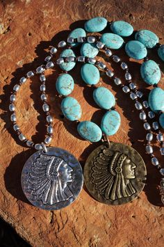 Leather Native American Medallion Knotted Necklace by fleurdesignz