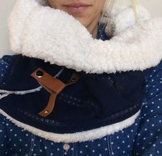 Sale-Navy and Leather Snap Cowl  by KutKloth on Etsy