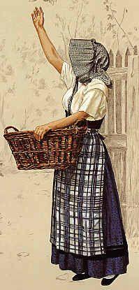 Tenue de travail - Alsace (image Michel Charvet) Alsace, French Costume, Alsatian, Frou Frou, France, Back In Time, Lorraine, Folklore, Indigo