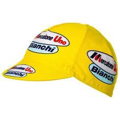 Mercatone Uno Bianchi Marco Pantani Cycling Cap - Yellow: Under Helmet Cap Team Cap, Cycling Outfit, Helmet, Baseball Hats, Bike, Retro, Yellow, Things To Sell, Ebay