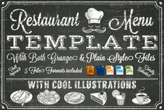Check out Vector Chalkboard menu Template by FourLeafLover on Creative Market
