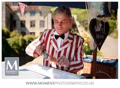 Ice cream man at Adam & Helen's wedding at Gants Mill, Bruton, Somerset. www.gantsmill.co.uk