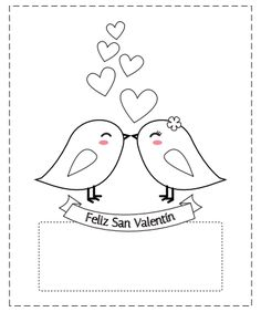 12 Spanish Valentine Cards for kids to color.