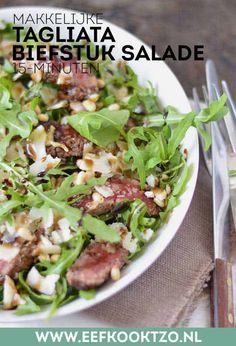 Tagliata (biefstuk salade) | Eef Kookt Zo Healthy Sugar, Healthy Recipes, Food To Make, Munnar, Main Dishes, Low Carb, Pasta, Favorite Recipes, Lunch