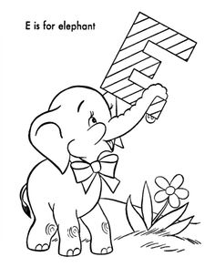 E Is For Elephant Online Coloring Sheet Kids