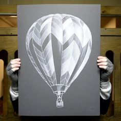 White balloon print illustration on black card. Printed Balloons, White Balloons, Poster Prints, Art Prints, Posters, Travel Themes, Painting & Drawing, Framed Art, Cool Designs
