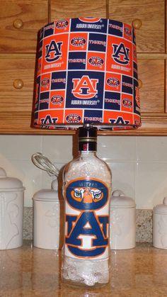 1.75 Lt Ketel One Liquor Bottle Lamp (Auburn University Logos & Shade) #KetelOne