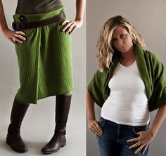 Infinity Scarf  5 in 1 in Moss Green Sweater Knit by MoonHalo, $59.00