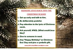 Bringing Jesus back into the Christmas Season