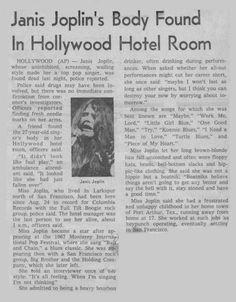 Autopsy of Janis Joplin - Kozmic Blues Newspaper Headlines, Old Newspaper, Newspaper Article, Newspaper Archives, Patti Smith, Rock And Roll, Rainha Do Rock, Jimi Hendricks, Just Kids