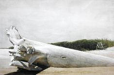 Marzio Tamer, The Irminio at its mouth, Sicily, cm 68 x 103, watercolor and dry brush, www.salamongallery.com  | #sicily #realism #landscape #nature #figurative #contemporary #art