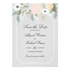 Large Floral - Save the Date Card