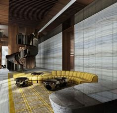 Room Decor Ideas shows you the best Lobby Designs by Yabu Pushelberg to Copy for your Home Interiors to achieve a luxury interior design at room decoration. Lobby Interior, Best Interior, Luxury Interior, Interior Architecture, Luxury Sofa, Luxury Living, Modern Living, Luxury Furniture, Lobby Design