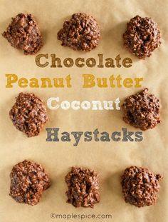 Vegan Chocolate + Peanut Butter + Coconut Haystacks - a no-bake cookie