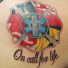 Custom Maryland Flag EMS/ Firefighter Tattoo by Joshua Doyon (IG: @InkedUpGing)