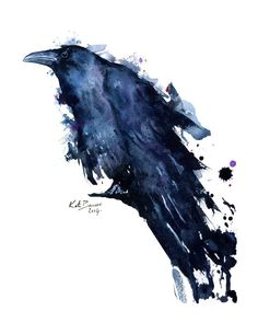 Raven  Watercolor raven print  Archival Print by MilkandHoneybread