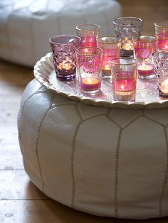 Moroccan Candles + Moroccan pouf