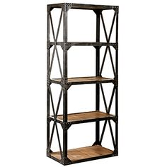 vintage industrial reclaimed wood metal bookcase bookshelf