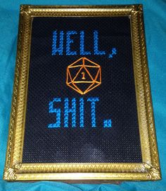 Dungeons & Dragons cross stitch. D20.