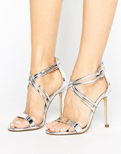 Metallic Barely There Heeled Sandal