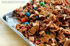 Sweet & Salty Caramel Snack Mix  Recipe adapted by Our Best Bites from Southern Living    6 cups graham cracker cereal (like Honey Grahams)  1 cup honey roasted peanuts  1 cup salted cashews or macadamia nuts  1/2 cup butter  1 cup firmly packed brown sugar  1/4 cup light Karo syrup  1 tsp. vanilla  3 cups Pretzel M&Ms; (about 1 large bag)