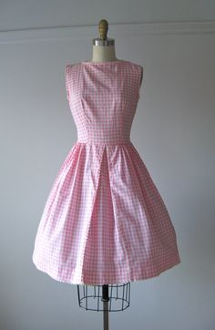 vintage 1950s dress / 50s dress / Pink Gingham by Dronning on Etsy, $96.00