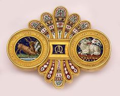 "Impressive Victorian Micro-Mosaic And Gold Brooch Representing The Old Testament, The New Testament And ""Eternity"" And Having Vatican Hallmarks"