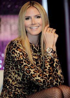 Heidi Klum in a leopard print dress