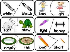Antonym Puzzle Match 30 Opposite Matches Learning about antonyms can be fun! Here are 30 self checking puzzle pieces of opposites that can be used with the whole class, small groups, or in centers. Preschool Literacy, Literacy Centers, Teaching Kindergarten, Learning Activities, Teaching Resources, Activities For Kids, Opposite Words, English Language Arts, First Year Teachers
