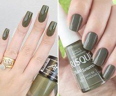 Shellac Colors, Nail Colors, Stylish Nails, Nails Inspiration, Army Green, Nail Art Designs, Manicure, Finger, Hair Beauty