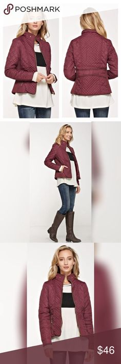 Wine Color Quilted Jacket with faux fir! Quilted padded jacket with pockets in wine.  Soft faux fir on the inside makes this the perfect option for fall evenings! Boutique  Jackets & Coats