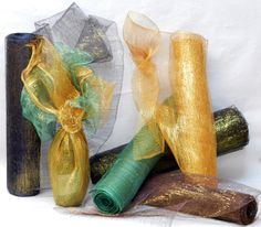 """Gold Sparkle Abaca 18"""" wide """"wrap"""".  Selected colors with a rich gold metallic thread adding glitz and glam."""