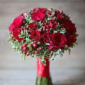 Свадебный салон ручной работы. Ярмарка Мастеров - ручная работа Красный свадебный букет. Handmade.