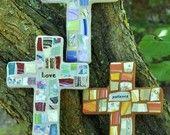 Custom Mosaic Cross with Recycled China Shards
