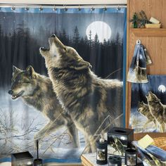 Have to have it. Howling Wolf Shower Curtain $
