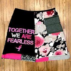 Cancer awareness upcycled skirt upcycled clothing tshirt