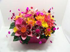 708 best paper flower arrangements images on pinterest in 2018 pink orange kusudama paper flower arrangement in a pink rectangular woven basket mightylinksfo