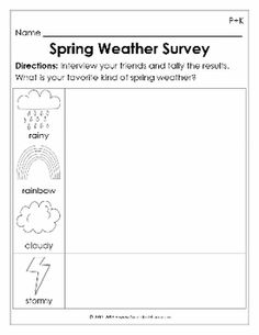 Spring Weather Interview for Preschool and Kindergarten math