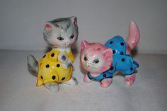 Vintage PY Japan Cats in Pajamas Salt & Pepper Shakers