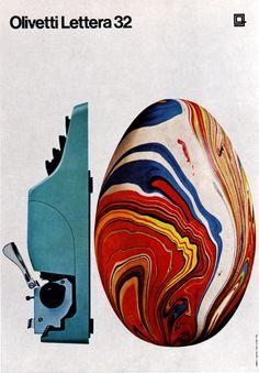 Advertising - Poster - Olivetti Lettera 32 (Italy) (via Pink Ponk) Posters Vintage, Vintage Advertising Posters, Print Advertising, Vintage Advertisements, Vintage Ads, 1960s Advertising, Retro Posters, Art Design, Book Design