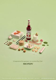 Project Love: Les Sirops de Monin - - Les Sirops de Monin is the degree project from Clemence Dubois . Love the exploration of art direction and photography using a strict colo. Web Design, Food Design, Print Design, Still Life Photography, Food Photography, Happy Photography, Branding, Creative Jobs, Commercial Photography