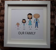 Cartoon Family Picture New home gift by WendysWeddingCorner