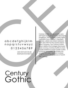 Century Gothic - I like this idea of the Large letters in a lighter colour behind a main black text. It is simple and attractive. Poster Fonts, Type Posters, Poster S, Typography Poster, Graphic Design Typography, Typographie Inspiration, Gothic Fonts, Graph Design, Face Design