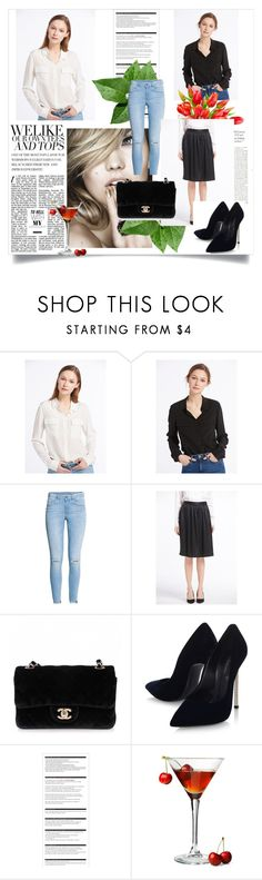"""""""Basic silk shirts from LilySilk"""" by lilysilk ❤ liked on Polyvore featuring H&M, Chanel, Casadei and Arche"""