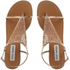 CHASITY SM Beaded Flat Sandal ROSE GOLD