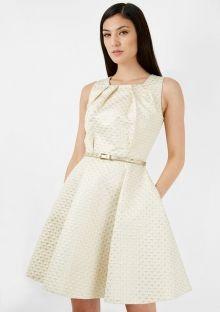 Closet společenské šaty Rafinovanost, zlaté White Dress, High Neck Dress, Dresses For Work, Fashion, Turtleneck Dress, Moda, Fashion Styles, Fashion Illustrations, High Neckline Dress