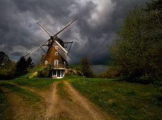 Threatening weather behind windmill north of Copenhagen, Denmark by Marianne Wedell-Wedellsborg